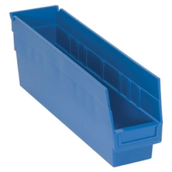 "17-7/8""L x 4-1/8""W x 6""H Blue Quantum® Store-More Shelf Bin"