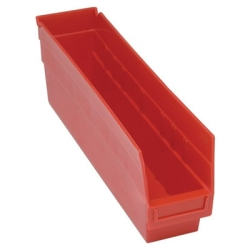 "17-7/8""L x 4-1/8""W x 6""H Red Quantum® Store-More Shelf Bin"