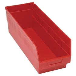 "17-7/8""L x 6-5/8W x 6H Red Quantum® Store-More Shelf Bin"