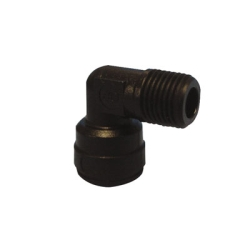 "6mm Tube OD x 1/8"" NPTF Black Fixed Elbow"