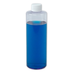 16 oz. Clear PVC Cylindrical Bottle with 28/410 Plain Cap