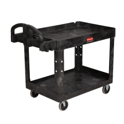 "Rubbermaid® Black 2-Shelf Heavy Duty Utility/Service Cart 45-1/4""L x 25-7/8""W x 33-1/4""H"