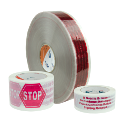 "100m x 48mm  Roll of ""Stop"" Hot Melt Tape"