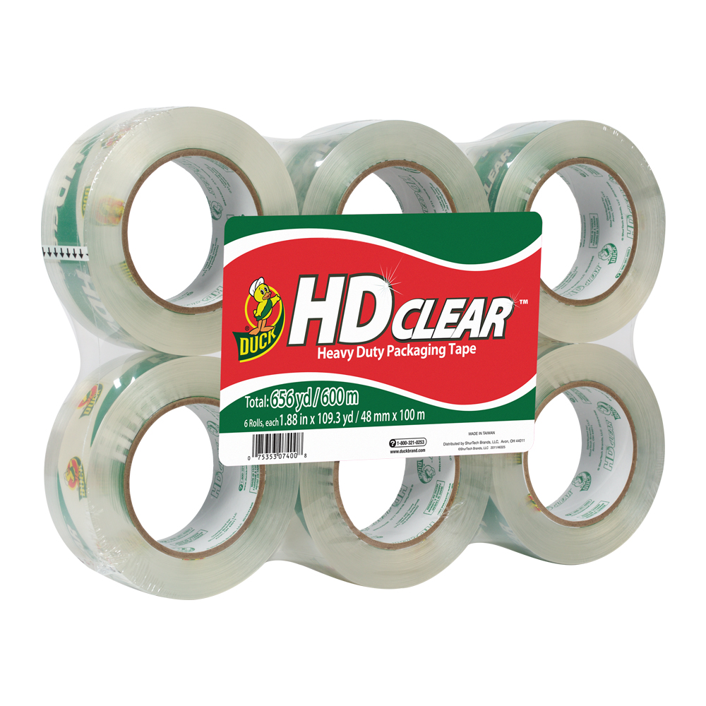 "1.88"" x 109 Yards Clear Heavy Duty Packing Tape Refill- 6 Pack"
