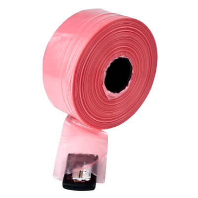 "4 mil 16"" x 750' Antistatic Pink Poly Lay - Flat Tubing"