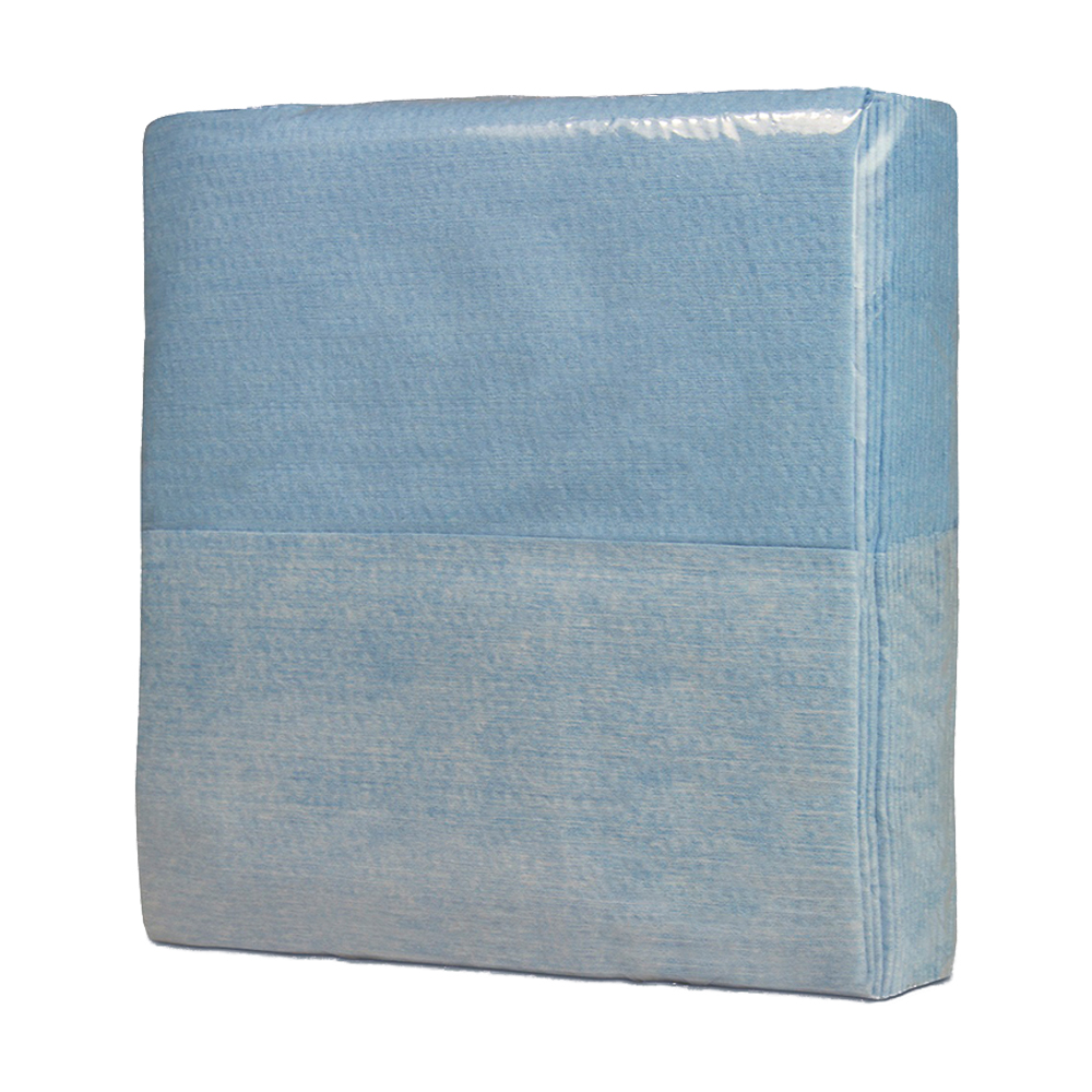 """12"""" x 12"""" Blue Creped Wipers - 25 Wipes/Z Fold Poly Bag"""