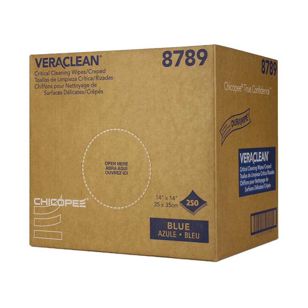 "14"" x 14"" Blue Creped Wipers - 250 Wipes/Crumple Box"
