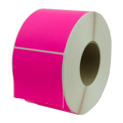 "4"" W x 6"" L Bright Pink Thermal Transfer Rolls - Case of 4 Rolls"