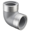 "1/2"" FNPT CPVC SCH80 SR 90° Elbow with SS Collars"