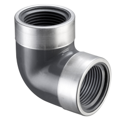 "1/2"" FNPT PVC SCH80 SR 90° Elbow with SS Collars"