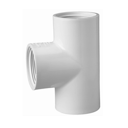 "1"" Schedule 40 White PVC Threaded Tee"