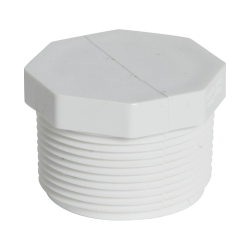 "1-1/2"" Schedule 40 White PVC Threaded Plug"