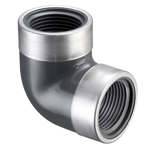 "1"" FNPT  PVC SCH80 SR 90° Elbow with SS Collars"