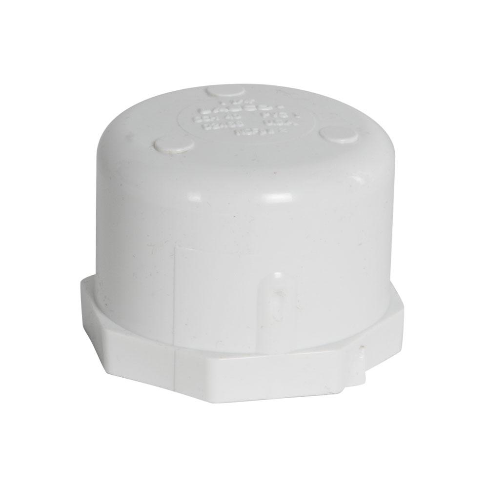 "1-1/4"" Schedule 40 White PVC Threaded Cap"