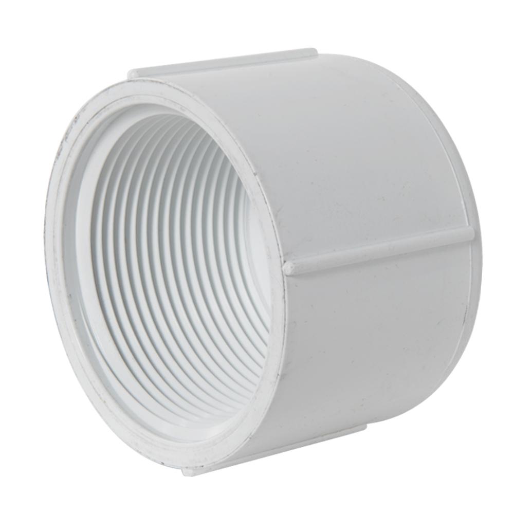 "2-1/2"" Schedule 40 White PVC Threaded Cap"