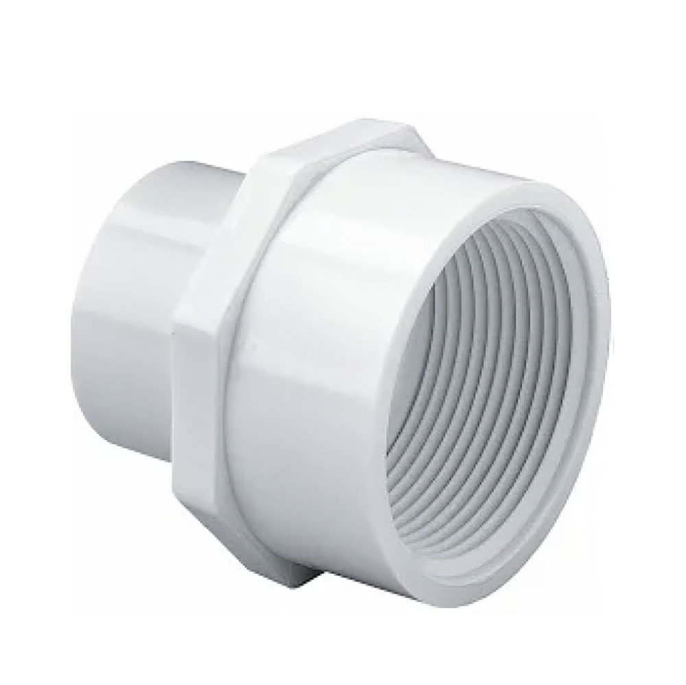 "1"" Socket x 3/4"" FNPT Schedule 40 White PVC Reducing Female Adapter"