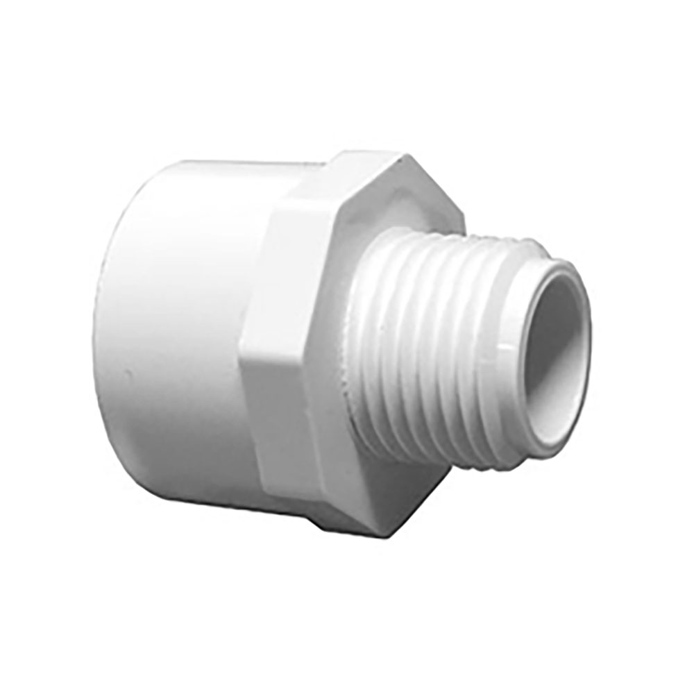 "1/2"" MNPT x 3/4"" FNPT Schedule 40 White PVC Threaded Reducing Adapter"