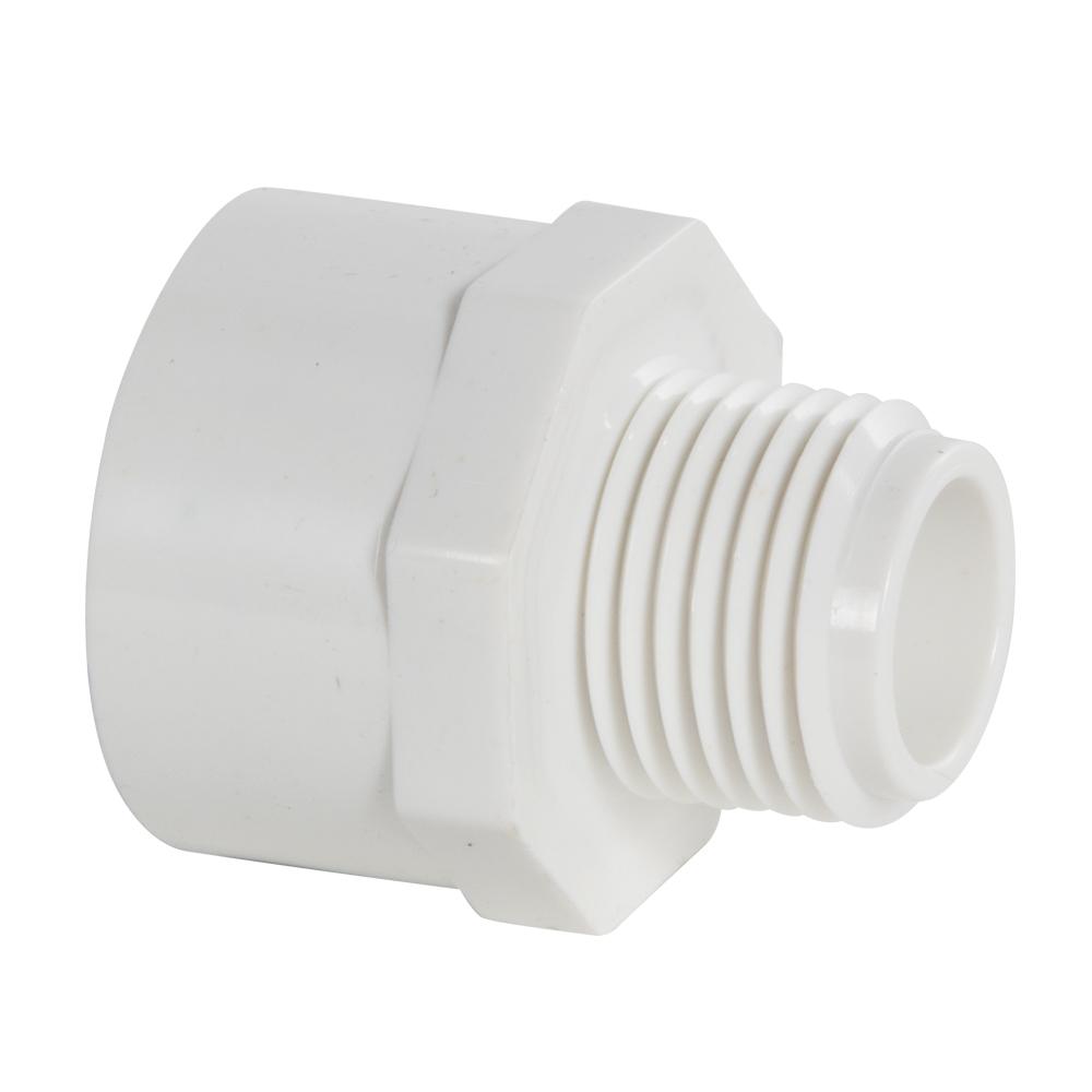 "1/2"" MNPT x 3/4"" FNPT Schedule 40 White PVC Threaded Reducing Adapter"