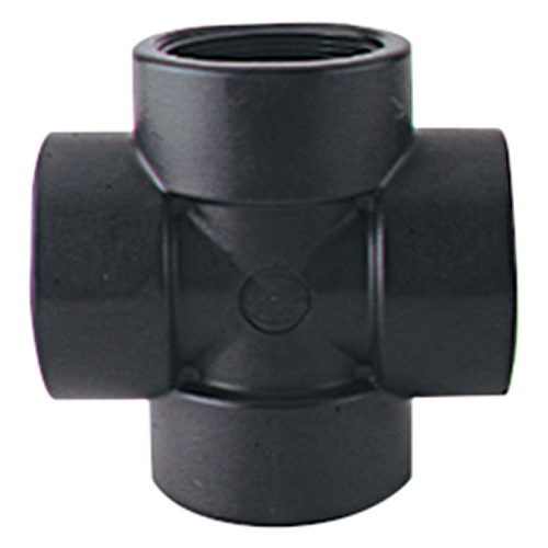"1-1/4"" Black Polypropylene Cross"