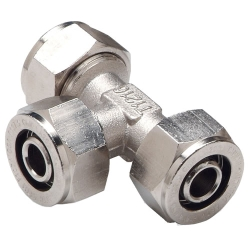 "1"" D1 x 1"" D1 x 3/4"" D1 Duratec® Nickel Plated Brass Reducing Tee"