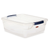 "15 Quart Clear Clever Store Basic Box with Blue Latches - 16.7"" L x 13.3"" W x 5.3"" H"