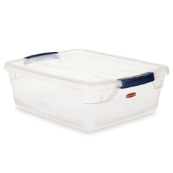 15 Quart Clear Clever Store Basic Box with Blue Latches