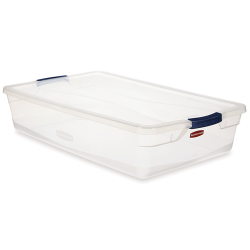 """41 Quart Clear Clever Store Basic Box with Blue Latches - 29"""" L x 18"""" W x 6"""" H"""