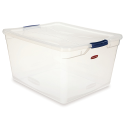"""71 Quart Clear Clever Store Basic Box with Blue Latches - 23.3"""" L x 18.7"""" W x 12.3"""" H"""
