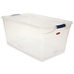 """95 Quart Clear Clever Store Basic Box with Blue Latches - 29"""" L x 18"""" W x 13.3"""" H"""