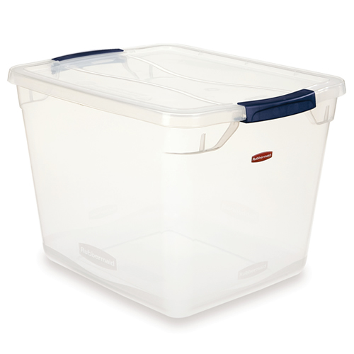 30 Quart Clear Clever Store Basic Box with Blue Latches