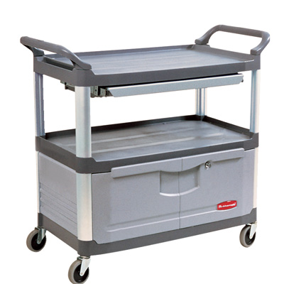 """Gray Rubbermaid® X-Tra™ Cart with Lockable Doors and Sliding Top Drawer - 40-5/8"""" L x 20"""" W x 37-13/16"""" H"""