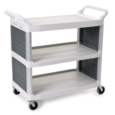 """Off White Enclosed on 2 Sides Rubbermaid® X-Tra™ Cart - 40-5/8"""" L x 20"""" W x 37-13/16"""" H"""