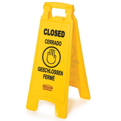 2 - Sided Closed Imprint Multi Lingual Floor Sign