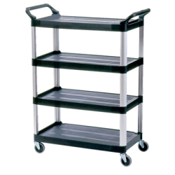 "Black Rubbermaid® X-Tra™ Cart with 4 Shelves - 40-5/8"" L x 20"" W x 51"" H"