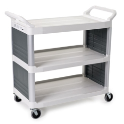"Off White Enclosed on 2 Sides Rubbermaid® X-Tra™ Cart - 40-5/8"" L x 20"" W x 37-13/16"" H"
