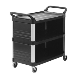 "Black Enclosed on 3 Sides Rubbermaid® X-Tra™Cart - 40-5/8"" L x 20"" W x 37-13/16"" H"