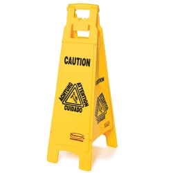 4 - Sided Caution Imprint Multi Lingual Floor Sign