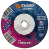 "4-1/2"" Dia. x 1/4"" Thickness x 5/8""-11 Hub Weiler® Tiger® Ceramic Grinding Wheel - Type 27"