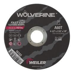 Weiler® Wolverine™ Fast Cut-Off Wheel - Grade A60T