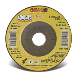 "4-1/2"" Dia. x 0.094"" Thickness x 7/8"" Arbor Hole 3-in-1 Cut/Grind/Finish Wheel - Type 27"