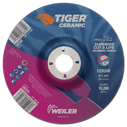 "6"" Dia. x 1/4"" Thickness x 7/8"" Arbor Hole Weiler® Tiger® Ceramic Grinding Wheel - Type 27"
