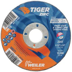 "4-1/2"" Dia. x 1/4"" Thickness x 7/8"" Arbor Hole Weiler® Tiger® Zirconia Grinding Wheel - Type 27"