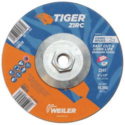 "6"" Dia. x 1/4"" Thickness x 5/8""-11 Hub Weiler® Tiger® Zirconia Grinding Wheel - Type 27"