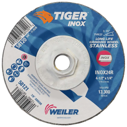"4-1/2"" Dia. x 1/4"" Thickness x 5/8""-11 Hub Weiler® Tiger® Inox Grinding Wheel - Type 27"