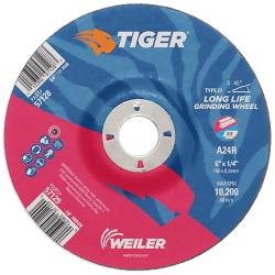 "6"" Dia. x 1/4"" Thickness x 7/8"" Arbor Hole Weiler® Tiger® Premium Aluminum Oxide Grinding Wheel - Type 27"