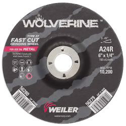 "6"" Dia. x 1/4"" Thickness x 7/8"" Arbor Hole Weiler® Wolverine™ Grinding Wheel - Type 27"