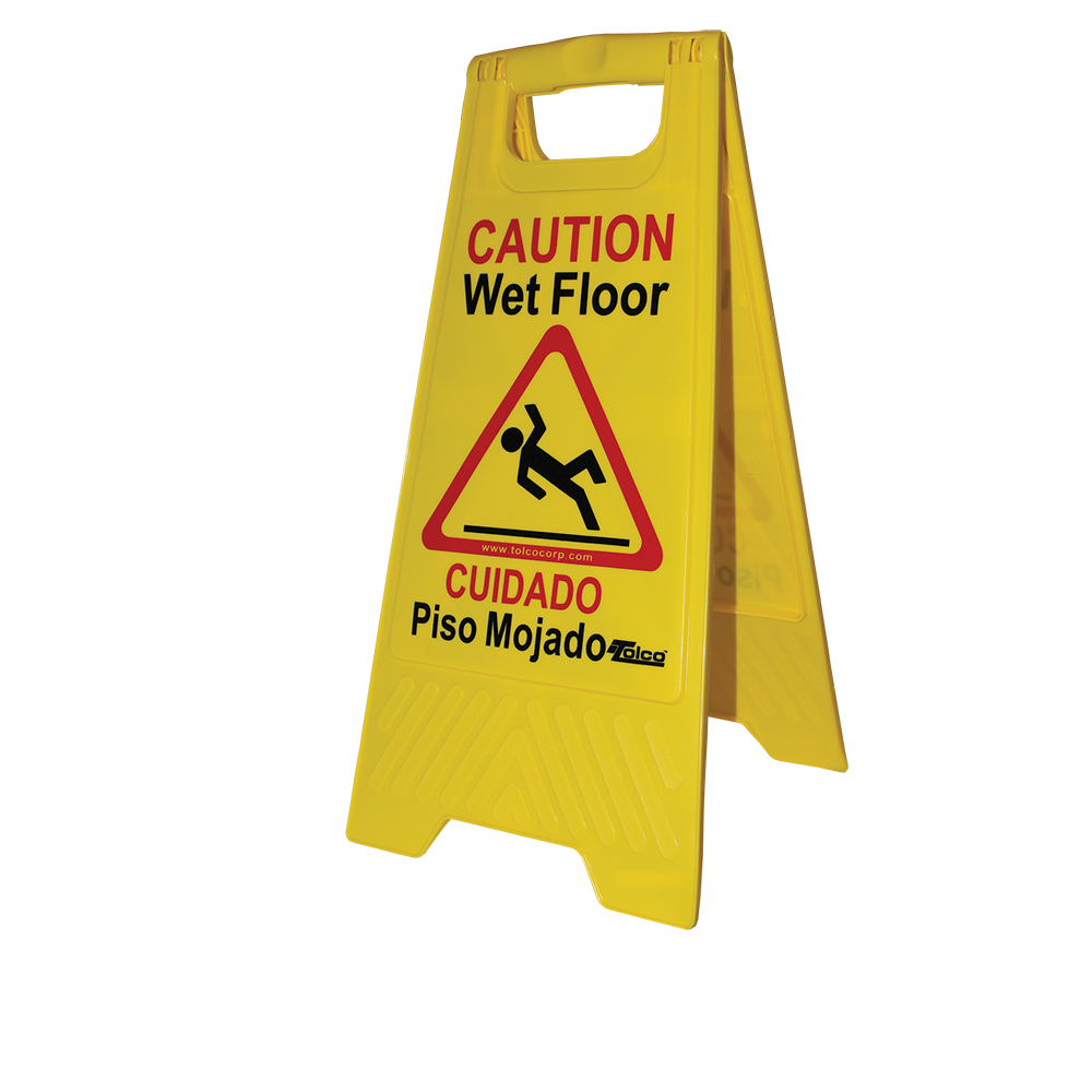 2-Sided Yellow Caution Wet Floor Sign