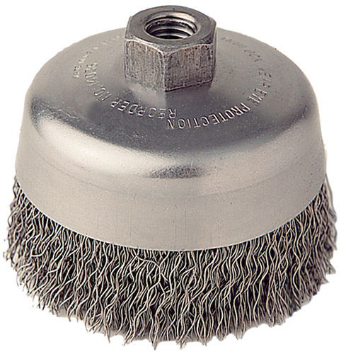 """3"""" Crimped Wire Cup Brush with M10X1.25 Arbor Hole"""
