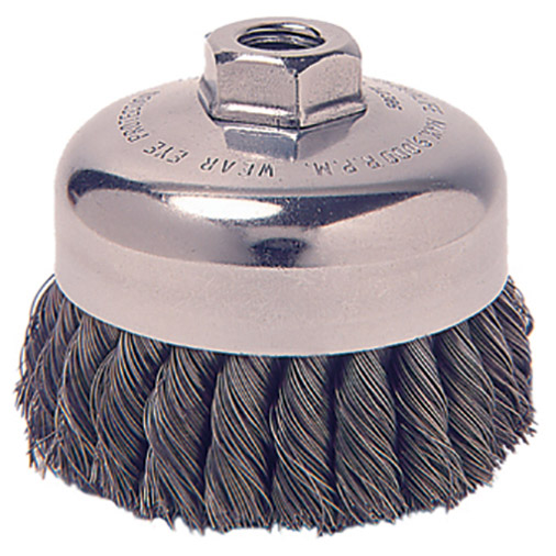 "2-3/4"" Knot Wire Cup Brush with M10X1.25 Arbor Hole"