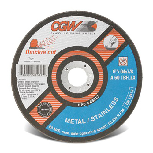 "6"" Dia. x .040"" Thickness x 7/8"" Arbor Hole Quickie Cut™ Flex Cut-Off Wheel - Type 1"